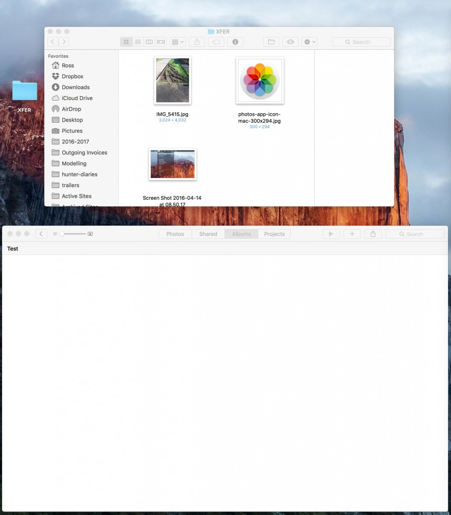 importing photos from desktop