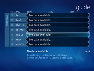 media centre no data